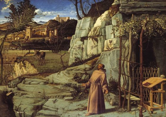 Bellini, Giovanni: St. Francis of Assisi in the Desert. Fine Art Print/Poster. Sizes: A4/A3/A2/A1 (001865)